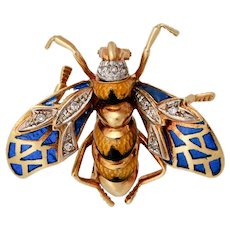 Antique 18KT 'Plique a Jour' Enamel and Diamond Bee Brooch