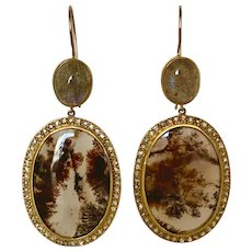 Large 18KT Moss Agate and Diamond Drop Earrings