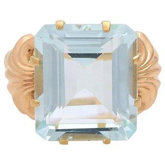 Vintage 1940s 18KT Aquamarine Ring