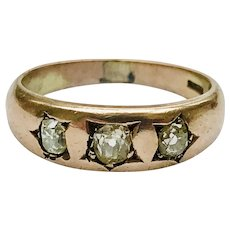 Antique 18KT Yellow Gold 3 Old Mine Cut Diamond Band Ring, Gypsy Ring, Trilogy ring