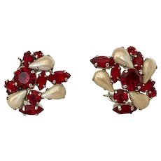 Rare Christian Dior 1959 Vintage Faux Pearl and Red Crystal Clip On Earrings