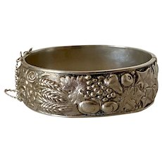 Victorian Sterling Silver Floral Bangle Bracelet