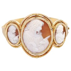 Vintage 14k Yellow Gold Carved Shell Cameo Bracelet