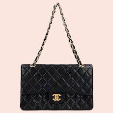 Authentic Vintage 1997 Chanel CC Black Quilted Double Flap Leather Chain Shoulder Bag