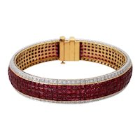 Vintage 18KT Yellow Gold Ruby & Diamond Bracelet