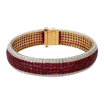 Vintage 18KT Yellow Gold Ruby & Diamond Bracelet