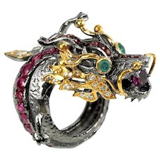 A Vintage Sterling Silver Ruby and Emerald Dragon Ring