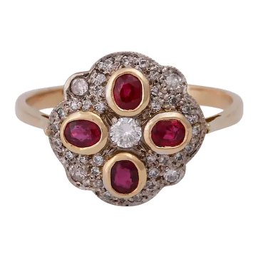 18KT Diamond and Ruby Edwardian Cluster Ring