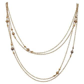 18KT Antique Victorian Sautoir Chain Necklace