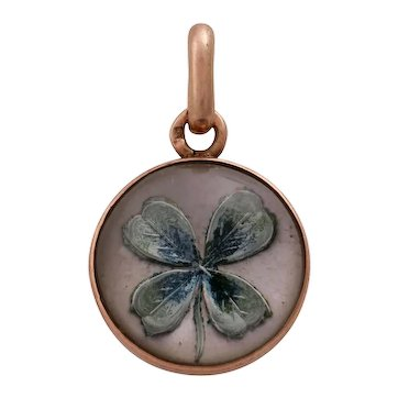 Edwardian 14KT RG Gold Essex Crystal Reverse Intaglio Painted Lucky Four Leaf Clover Pendant