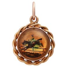 Edwardian 14KT Gold Essex Crystal Reverse Intaglio Painted Jumping Race Horse Pendant