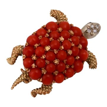 1940s 18KT Coral Diamond Turtle Brooch With Moveable Limbs