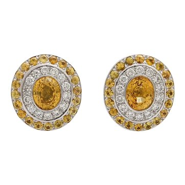 Large 18KT Yellow Sapphire and White Diamond Stud Earrings
