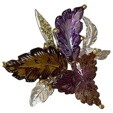 Hand Carved Amethyst, Ametrine and Citrine Leaf Ring
