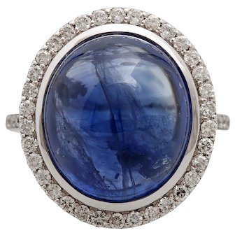 A Vintage 20 Carat Sapphire Cabochon and 1.7 ct Diamond 18Kt Cocktail Statement Ring