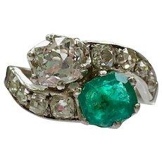 Belle Epoque Platinum Emerald and Diamond Toi et Moi Ring