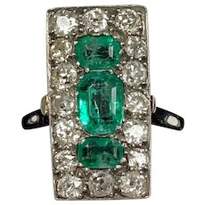An Edwardian Platinum Emerald and Diamond Rectangular Ring