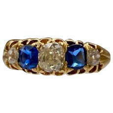 A Victorian Old Cut Diamond and Sapphire Five Stone Ring