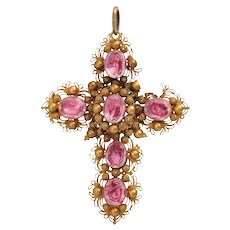 A Georgian 14KT Pink Paste Cannetille Gold Cross Brooch Pendant c. 1810