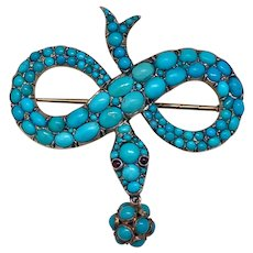 Antique Victorian 15KT Turquoise and Rubies Snake Brooch Pendant