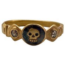 Late 16th Century Gold Momento Mori Skull Ring In Enamel and Diamonds