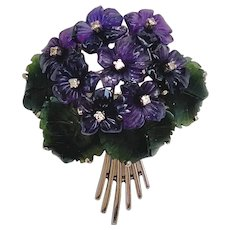 Art & Crafts Period Suffragette Carved Amethyst, Jade and Diamond Violet Posy Brooch Pin