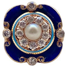 Antique Georgian Gold, Blue Enamel, Pearl and Diamond Ring