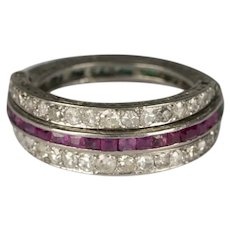 Platinum Diamond Ruby & Emerald Night and Day Flip Ring