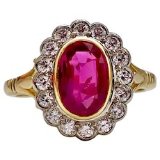 A Fine Vintage 18KT Certified Natural Burma Ruby and Diamond Cluster Ring
