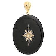 Victorian 14KT Gold, Onyx, Natural Pearl Oval Pendant with Locket Back