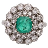 Vintage 14KT Emerald and Diamond Cluster Ring