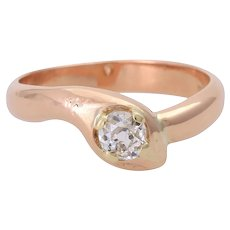 Antique 14KT Rose Gold 0.48ct Old European Mine Cut Diamond 'Snake' Ring
