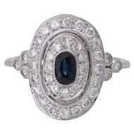 14KT Vintage Sapphire Diamond Halo Oval Engagement Ring