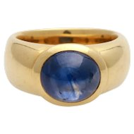 Heavy Vintage 18KT Large Sapphire Cabochon Cocktail Ring