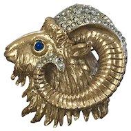 Large Vintage Signed Sphinx Rams Head Goldtone Brooch Pin