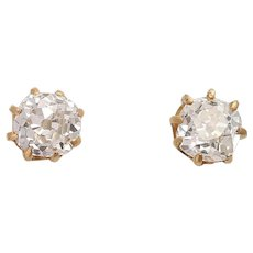 Vintage 0.90 tcw Old Mine Cut Diamond 14K Stud Earrings