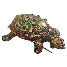 Vintage Czech Bohemian Glass and Enamel Turtle Brooch