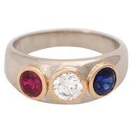 Vintage 14k  Diamond 3 Stone Diamond Ruby & Sapphire Gypsy Band Ring