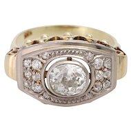 Vintage 14KT Old Mine Cut Diamond 1940s Engagement Dress Ring