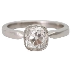 Vintage 1940s 2.43 ct Old Mine Cushion Cut Diamond Platinum Solitaire Ring Certified