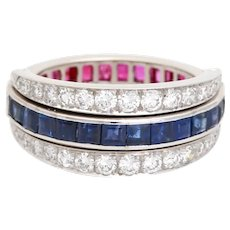 18KT WG Diamond Ruby & Sapphire Night and Day Flip Ring, Art Deco ring