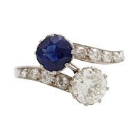 Vintage Art Deco Sapphire and Diamond Platinum Crossover Toi et Moi Ring