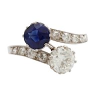 Vintage Art Deco Sapphire and Diamond Platinum Crossover Toi et Moi Ring
