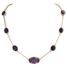 Vintage 1960s 18KT Gold and Amethyst Statement Necklace