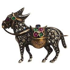 A 18KT Victorian Diamond Donkey Brooch Pin