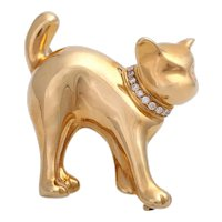 Vintage Handmade 18K Gold Cat with Diamond Collar Brooch Pin