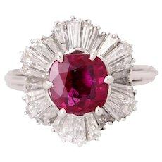 Vintage 18K Natural No Heat Natural Ruby & Diamond Ballerina Cluster Ring