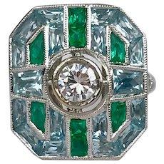1.00 ct Art Deco Diamond Emerald & Aquamarine Geometric 18k Cocktail Ring
