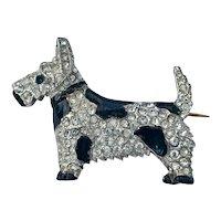 Vintage Trifari Enamel Rhinestone Terrier Dog Brooch Alfred Philippe 1940s