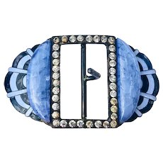 Art Deco Rhinestone, Blue Glass and Enamel Geometric Brass Belt Buckle